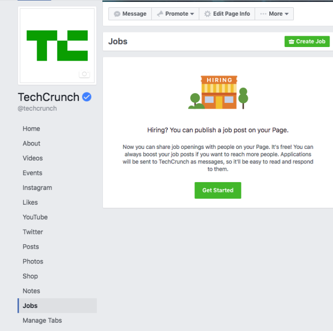 TechCrunch - Il pulsante del lavoro di Facebook